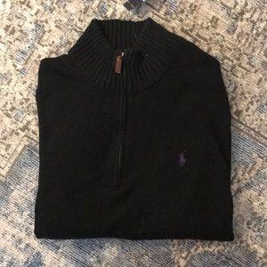 NWT! Polo Ralph Lauren Quarter Zip Black Sweater